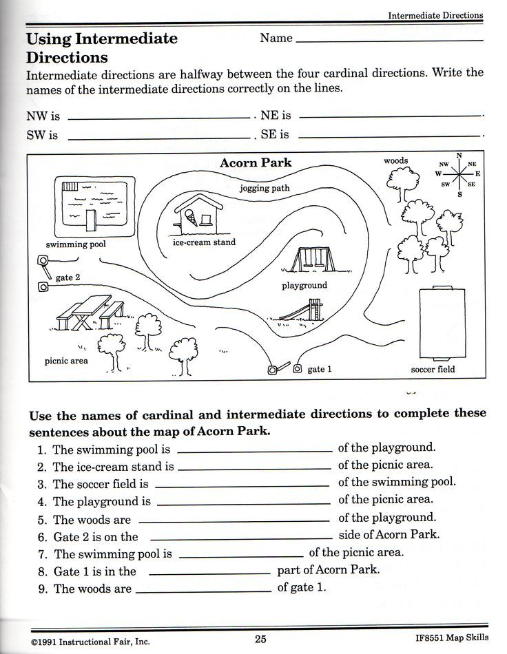 intermediatedirectionsworksheetjpg 2392 3088 – Map Skill Worksheets