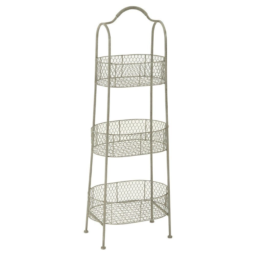 Farmhouse rustic iron 3tiered basket stand 41 olivia