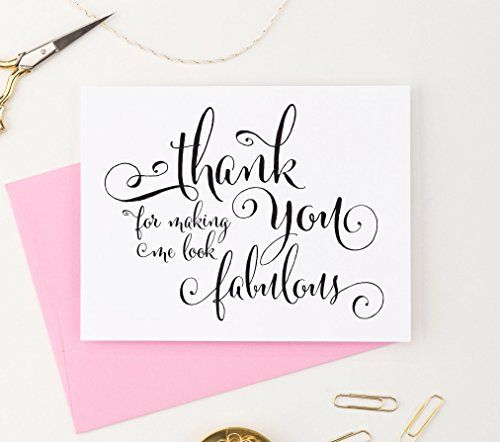 Single Wedding Card For the makeup artist or hair stylist Thank you for making me look beautiful