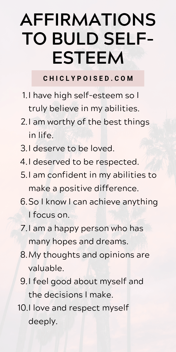 Using The Law Of Attraction and Positive Affirmations To Build Self-Esteem | Chiclypoised