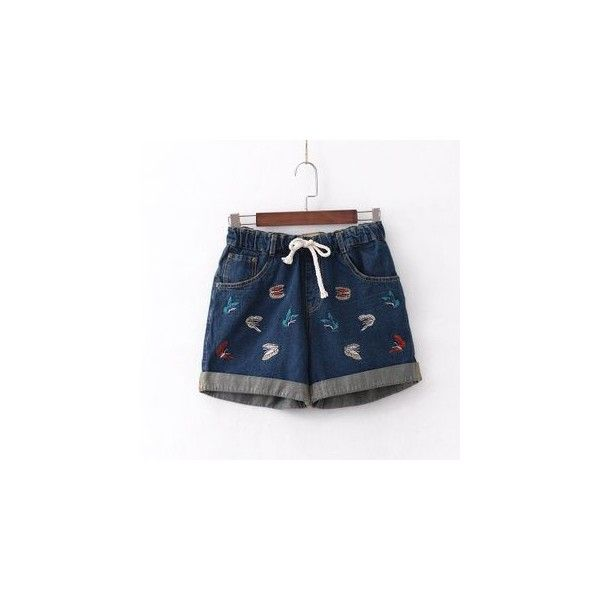 Embroidered Denim Shorts ($25) ❤ liked on Polyvore featuring shorts, women, embroidered denim shorts, embroidered shorts, dark blue jean shorts, short jean shorts and denim shorts