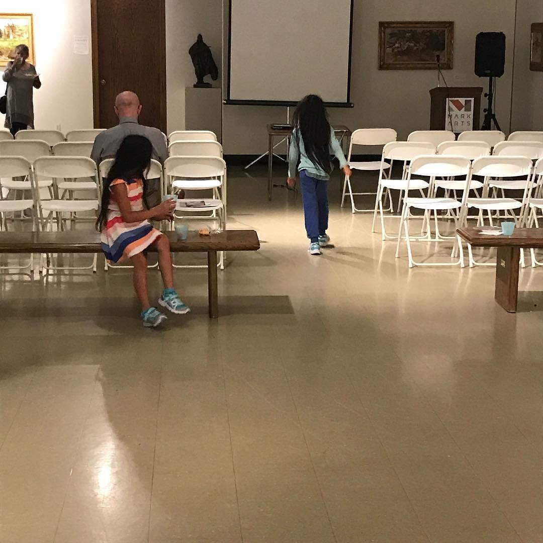 And Here Is My Faithful Husband Holding Down The Chairs Waiting For Jurors Talk At Wichita National All Media Exhibition Ks