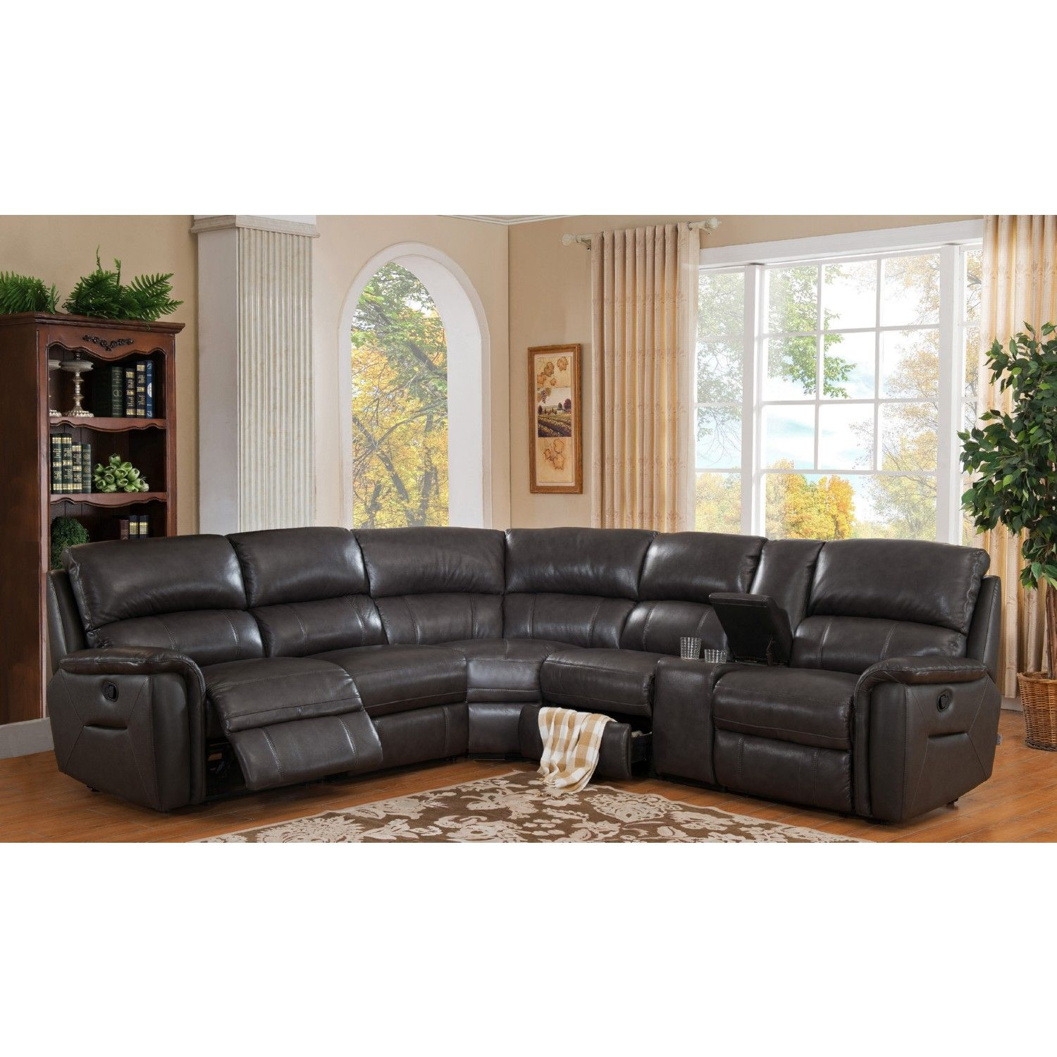 Hydeline Amax Camino 100 Leather Reclining Sofa Sectional Charcoal Grey Sectional Sofa With Recliner Reclining Sectional Leather Reclining Sectional