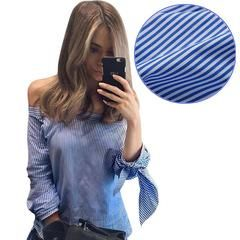 Women Elegant Sexy Blue White Striped Blouse Femme Off The Shoulder Blouses Slash Neck Blusas Long Sleeve Bow Tops