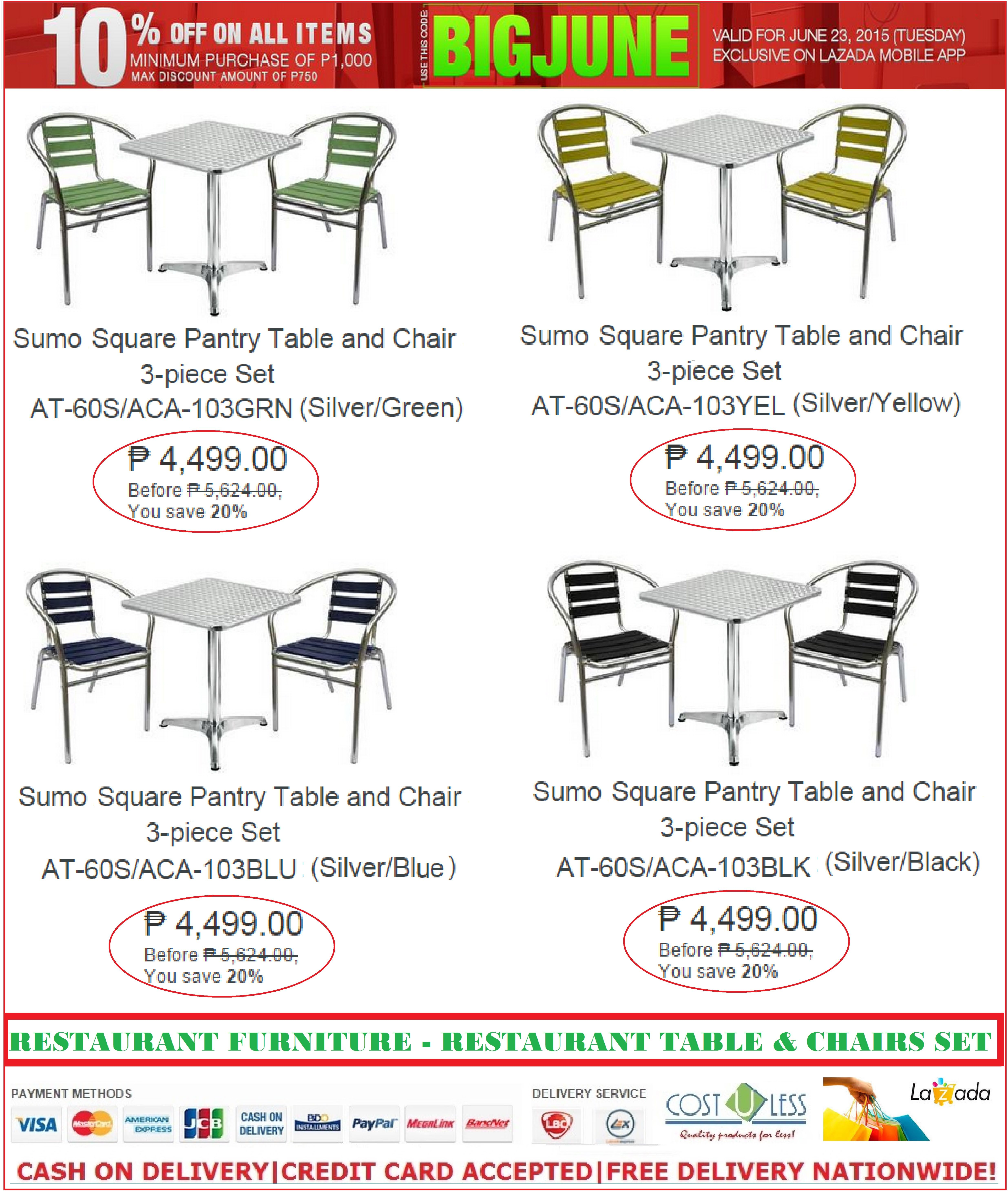 RESTAURANT FURNITURE SALE @LAZADA JUNE PROMO! TAKE 10% OFF DISCOUNT ON  RESTAURANT