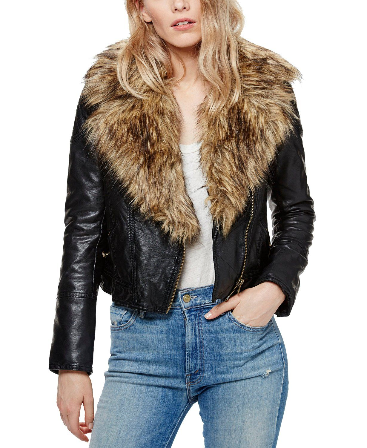 Free People Faux Fur Faux Leather Exposed Zip Moto Jacket