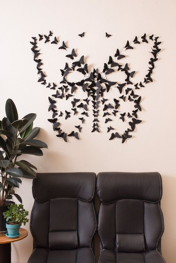 black 3d butterfly wall arthipandclavicle on etsy | whimsical