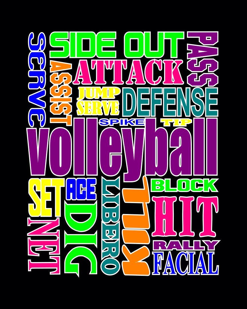 VOLLEYBALL words ~ Volleyball shirt by StarkiesTees on Etsy https://www.etsy.com/listing/187901118/volleyball-words-volleyball-shirt