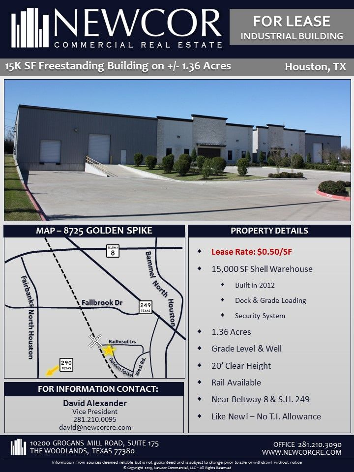 New Listing For Lease Free Standing 15k Sf Industrial Building On 1 Acre Near Beltway 8 249 Industrial Buildings Acre Commercial Real Estate