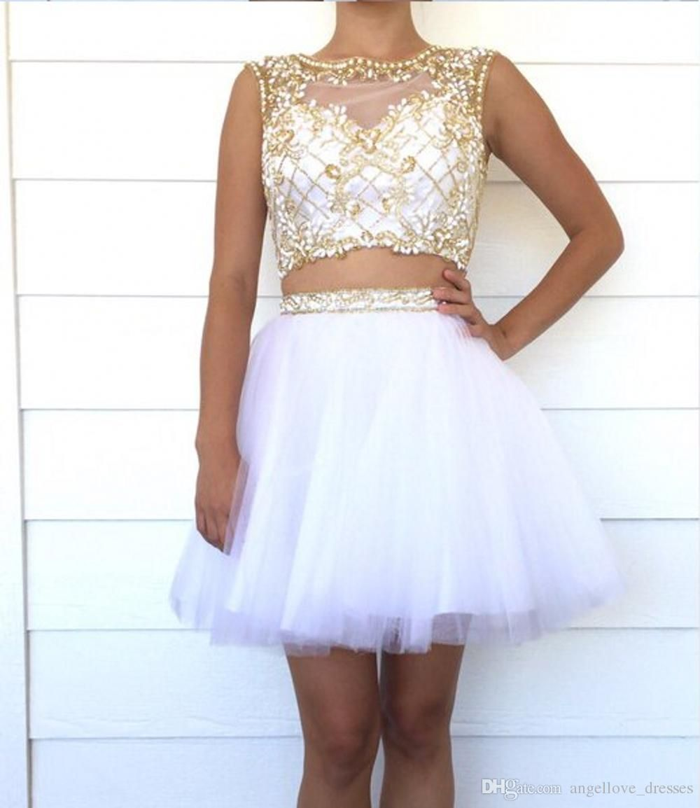 white two piece homecoming dresses beaded bodice open back