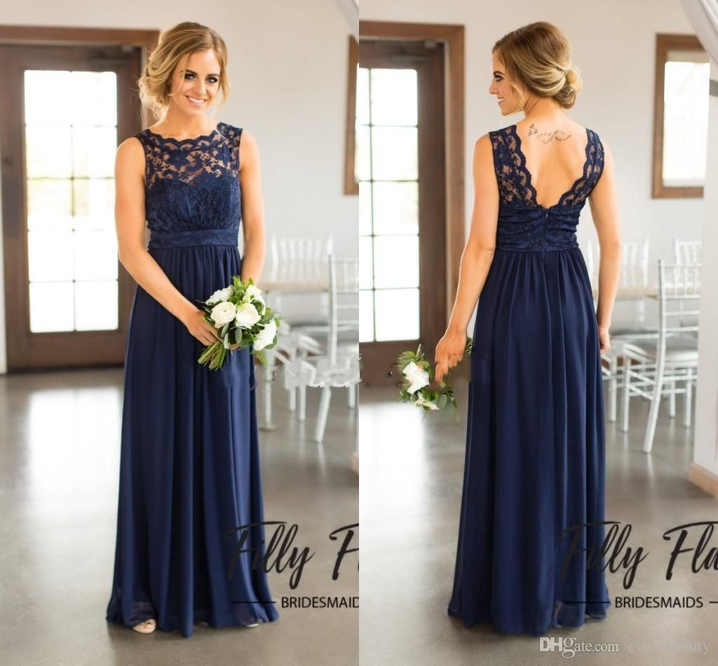 navy blue lace bridesmaid dresses for country wedding aline