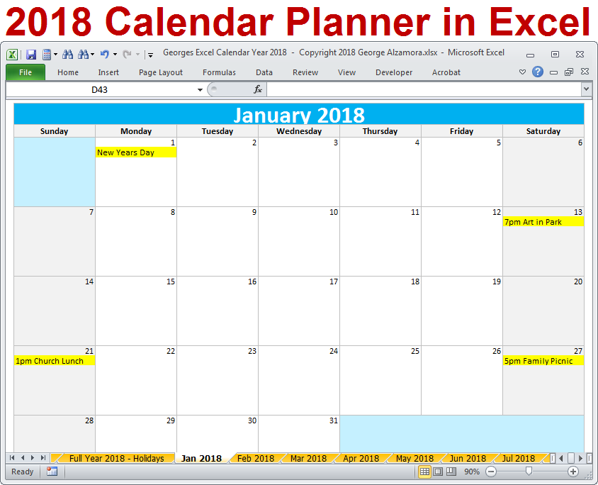 Calendar Excel Download : Georges excel calendar year template yearly