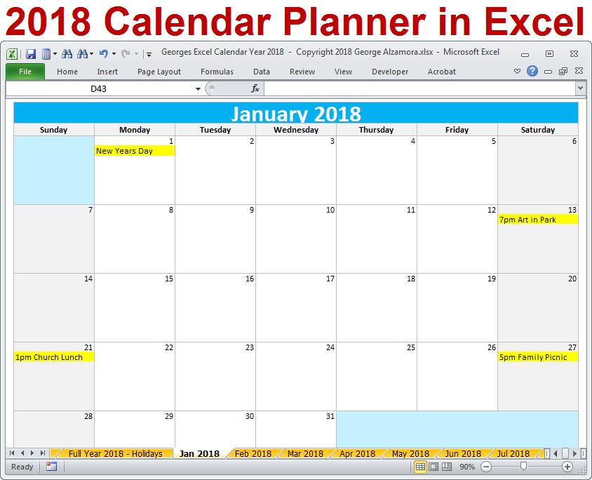 Georges Excel Calendar Year 2018 2018 Calendar Year Excel