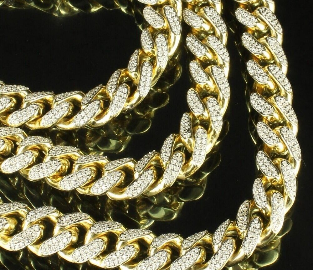 Miami Cuban Link Fully Iced Out Cuban Link Chain And