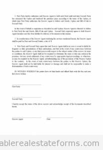 Sample Printable Escrow Agreement  Form  Sample Real Estate