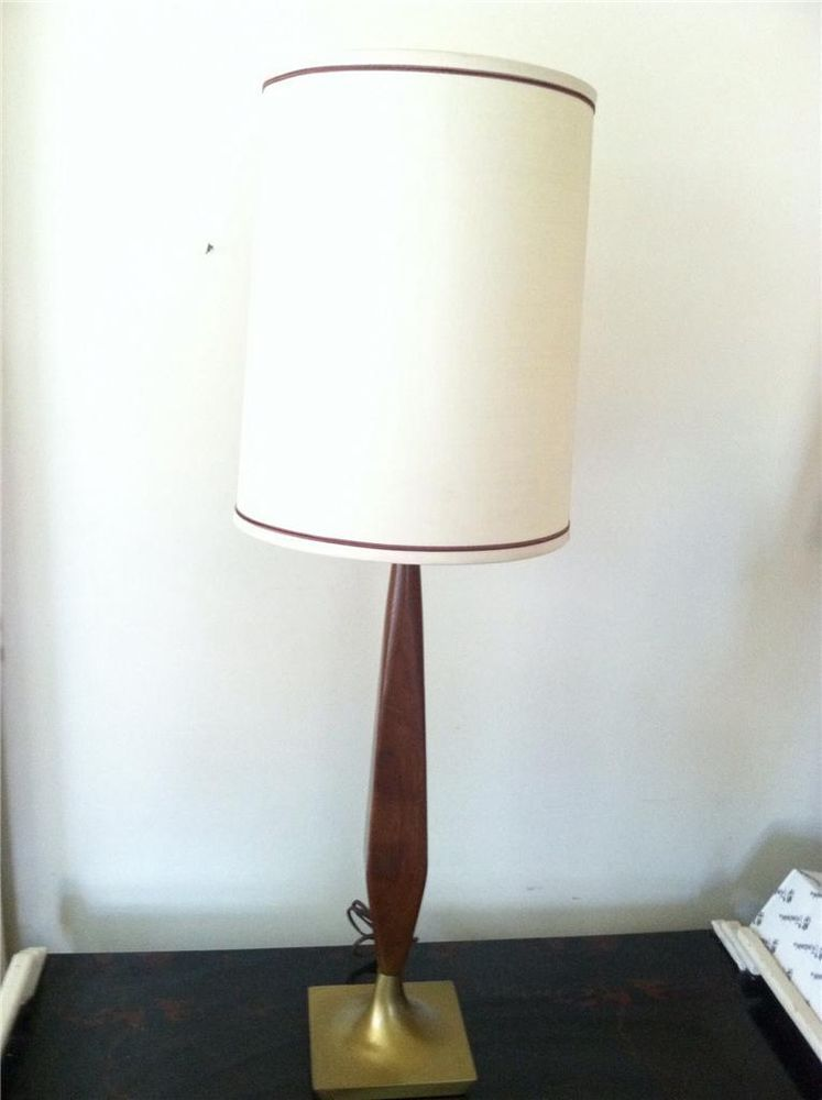 Mid Century Modern Teak Wood W Brass Base Table Lamp 3 Way Shade