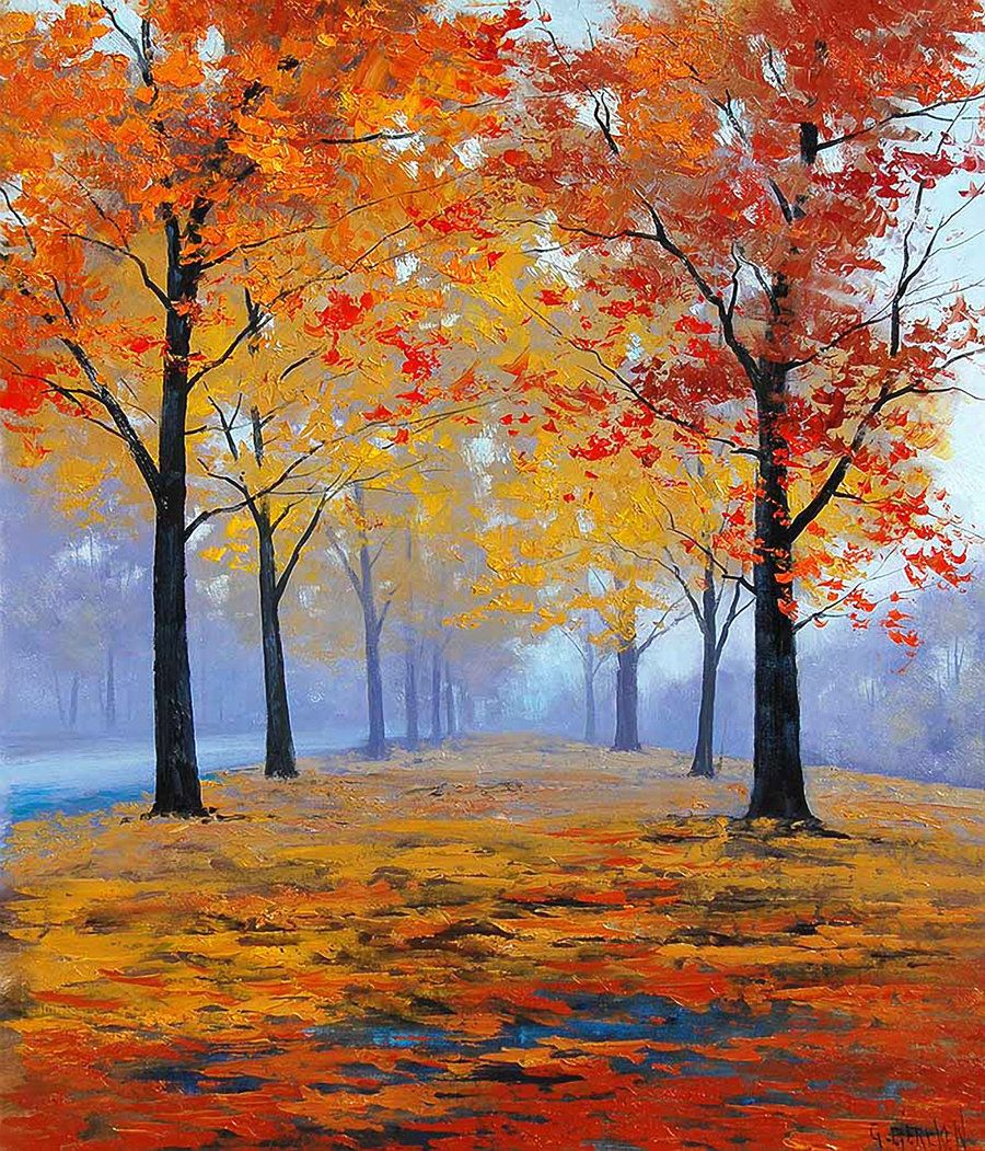 Vibrant Autumn Colors Autumn Painting Oil Paintings Fall Oil Painting Trees