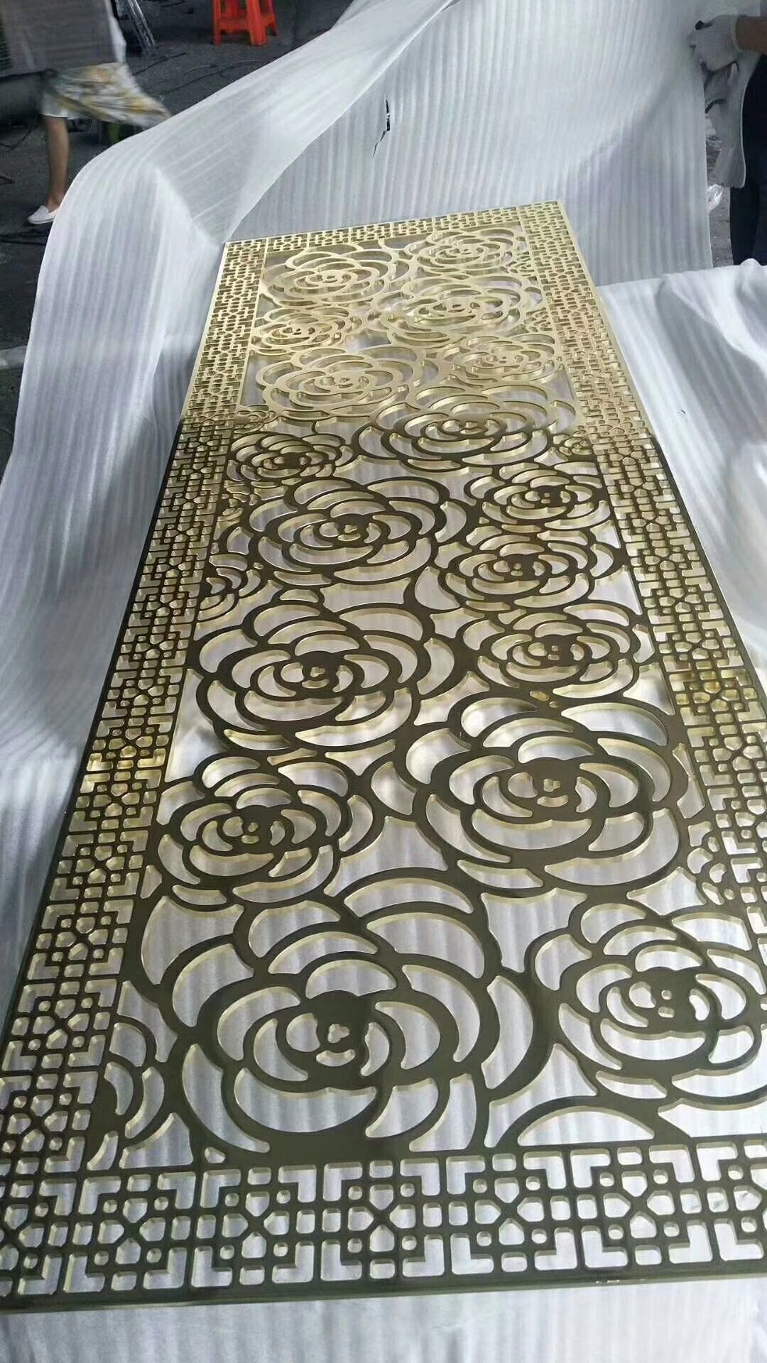 Laser Cut Panel With Rose Pattern