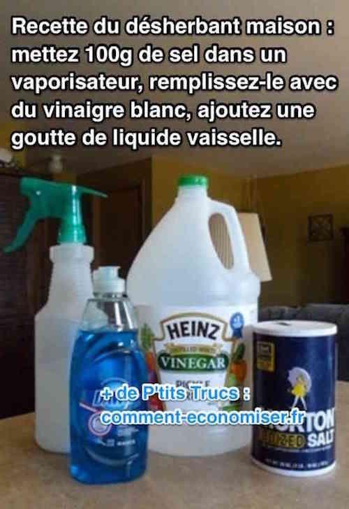 Puissant Et Facile A Faire Le Desherbant Maison Au Vinaigre Blanc Desherbant Maison Desherbant Naturel Et Jardinage