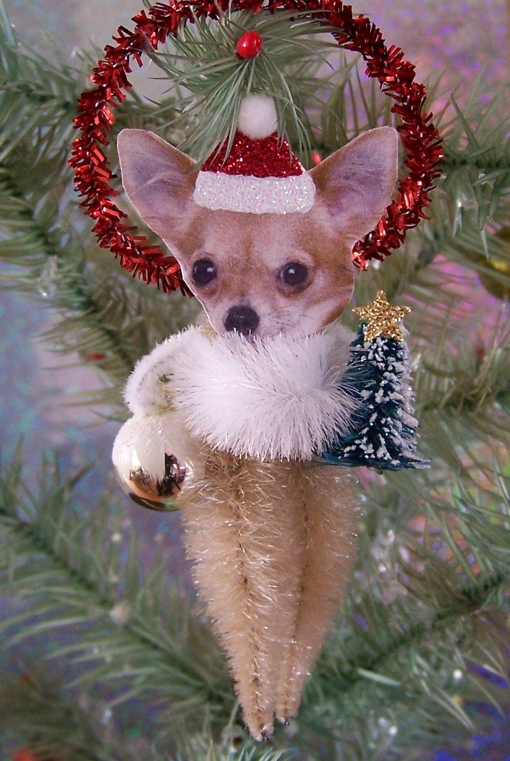 Chihuahua Christmas Teacup Ornament Longhair