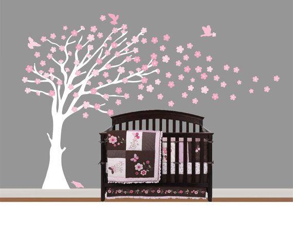 Girls White Cherry Blossom Treechildren Nursery By Nurserywallart 79 99 Cherry Blossom Nursery Baby Nursery Wall Decals Nursery Wall Decals