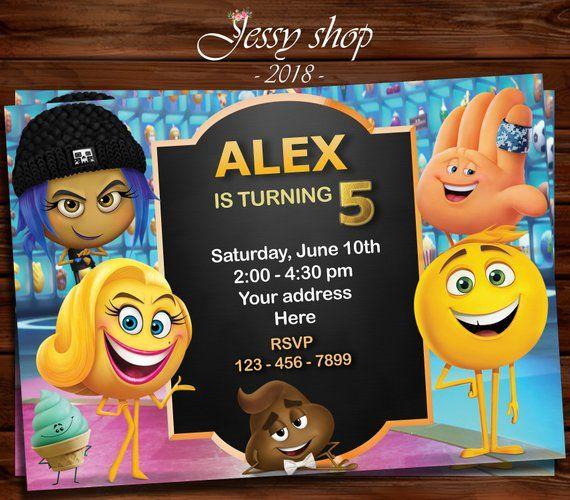 Emoji Invitation Movie Birthday Party Smile Poop Hi