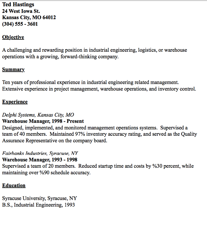 Example Of Warehouse Manager Resume Manager resume