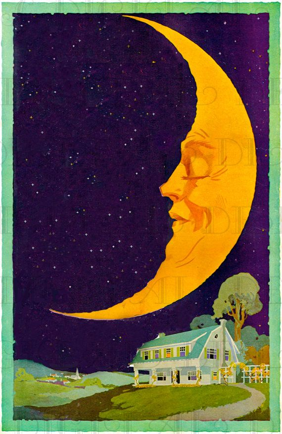 Half Crescent Moon With Face Tattoo: MAN In The HALF Moon! Vintage Moon And Cottage