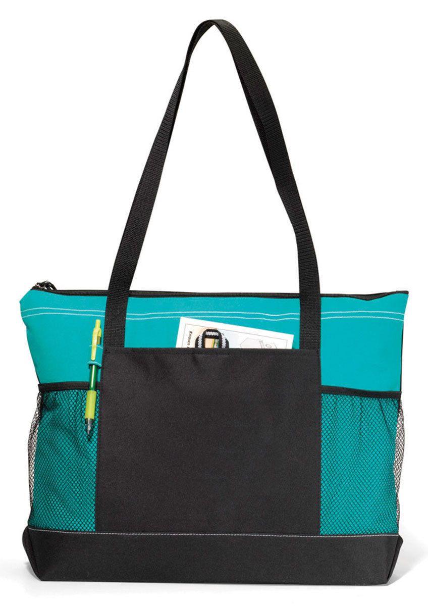ac9b7e447c6e Gemline Mesh Water Bottle Pocket Select Zippered Main Compartment Tote Bag.  1100