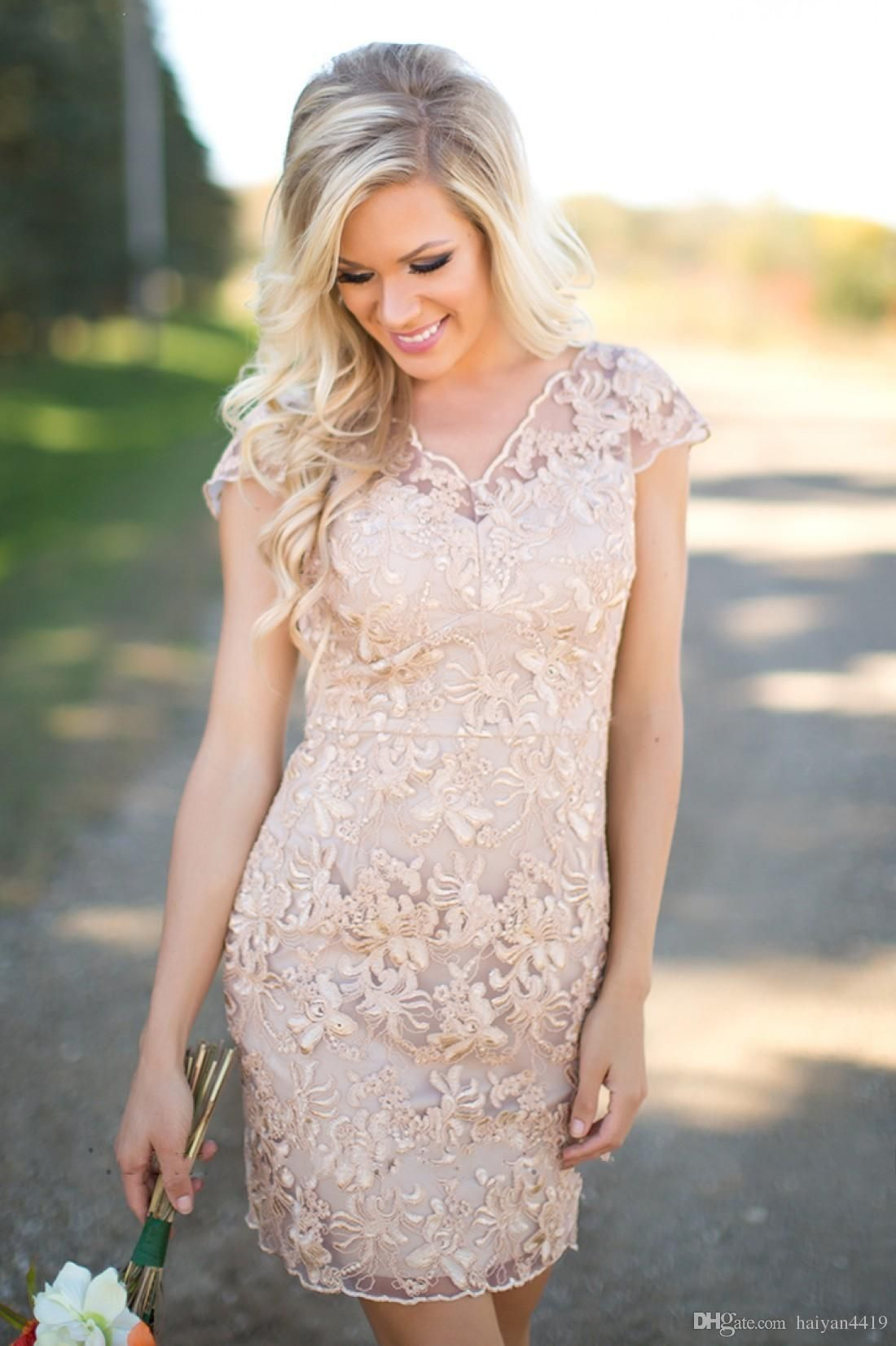 Cheap cheap country bridesmaid dresses v neck full lace short