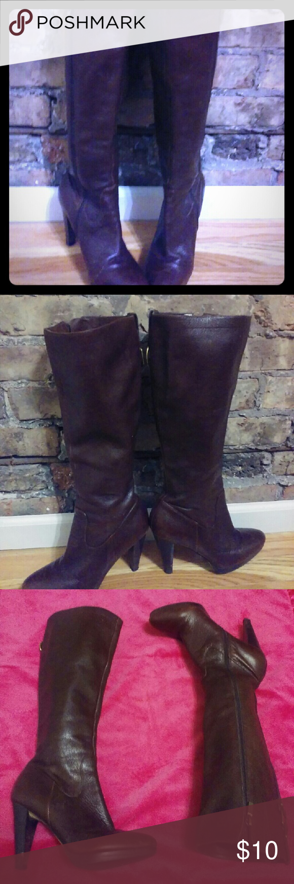 Banana Republic Boots Brown leather heeled boots they do have some scratches and scuffs but definitely still have some life to them. Sold as is. True to size. Banana Republic Shoes Heeled Boots