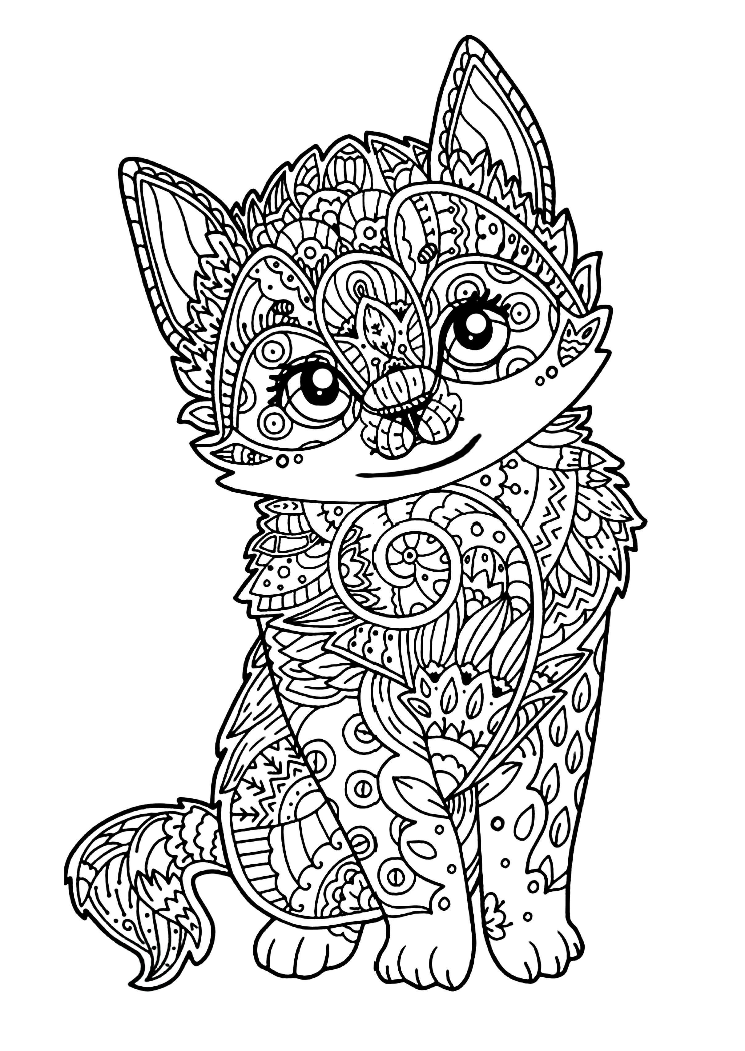 Coloring Mandala Cat Printllllll L Duilawyerlosangeles Zoo Animal Coloring Pages Kittens Coloring Animal Coloring Books
