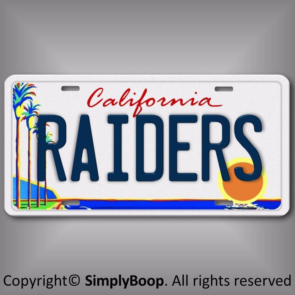Oakland Raiders Nfl Afc West Team Aluminum License Plate Tag California L A Ebay Oakland Raiders Raiders Nfl Tickets