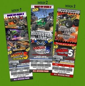 personalized monster truck jam party invitations party ideas