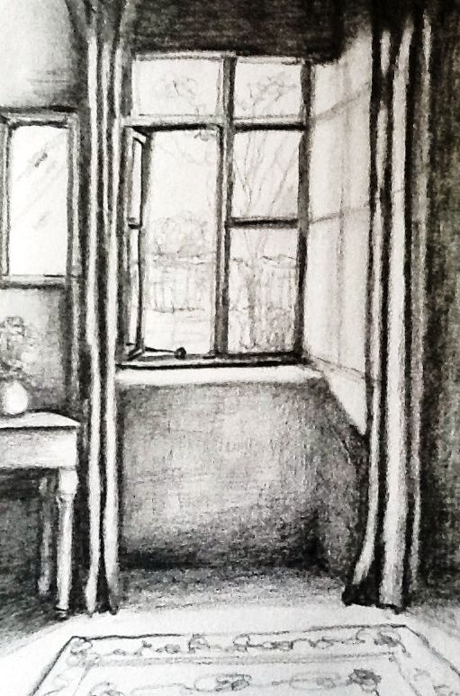 window pencil drawing. window view. pencil sketch by peter hart drawing a