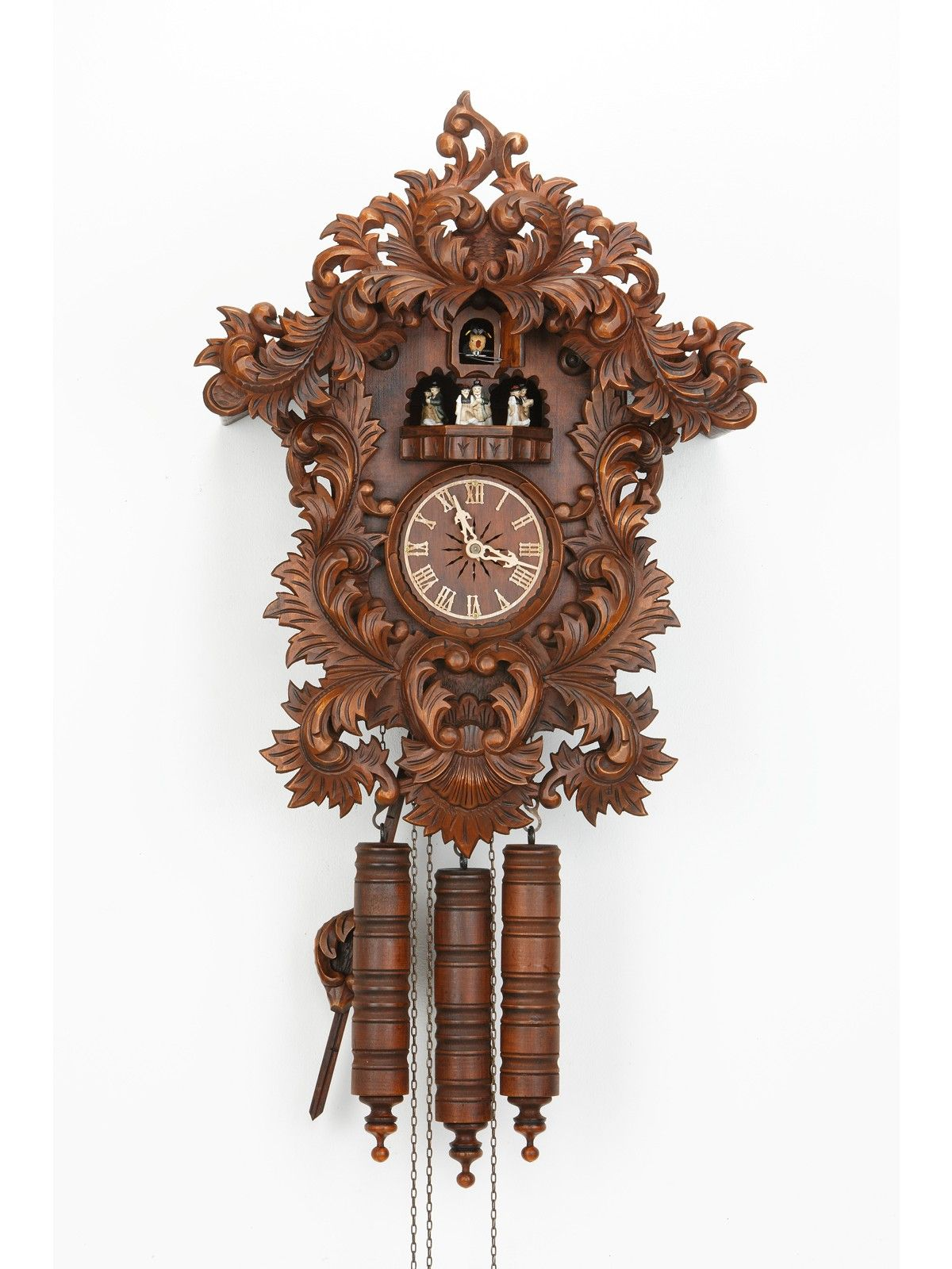 Cute Cuckoo Clock For Home Accessories Ideas: Exclusive Cuckoo Clock In Brown Made Of Wood With Wonderful Carving For Home Accessories Ideas