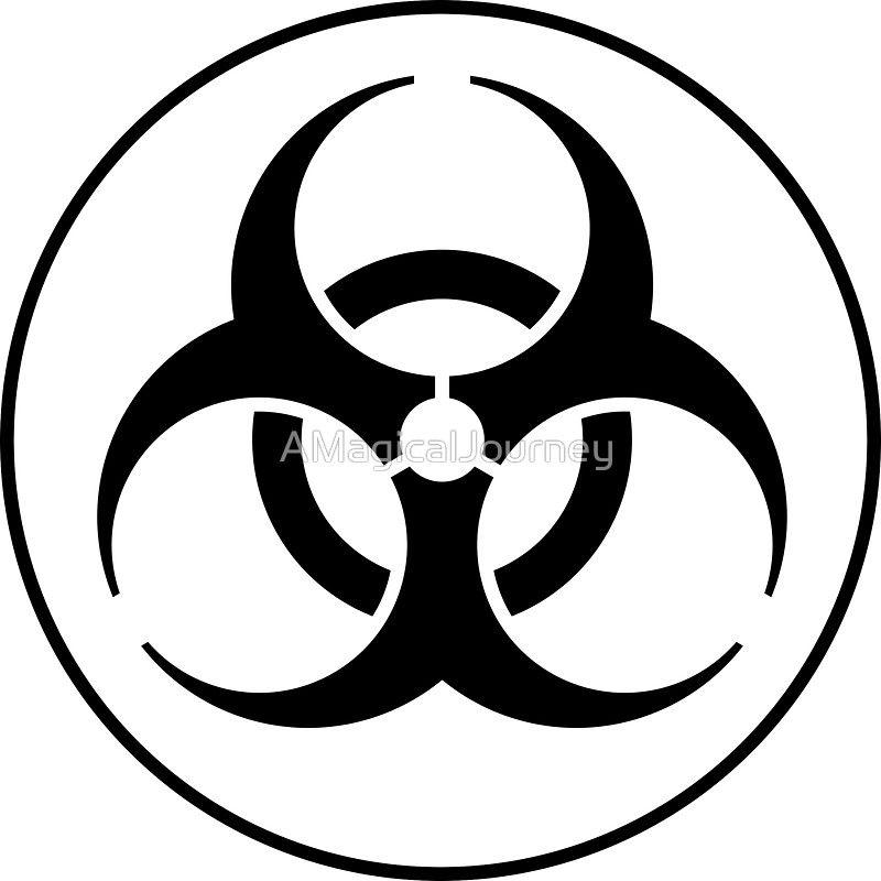 Clean Biohazard Symbol Black And White Science Geek Sticker By Amagicaljourney In 2021 Biohazard Sign Symbols Biohazard Symbol
