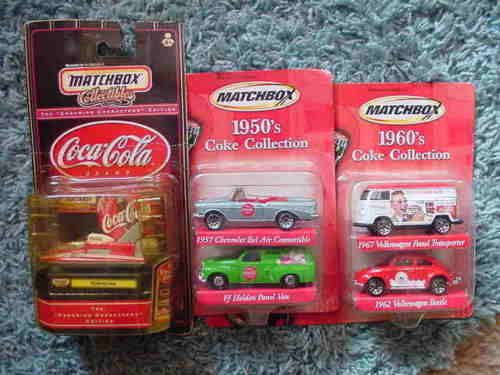 Matchbox-Coca-Cola-Coleccion-Volkswagen-Panel-Van-Escarabajo-1957-Bel-Air-patinara-Lote