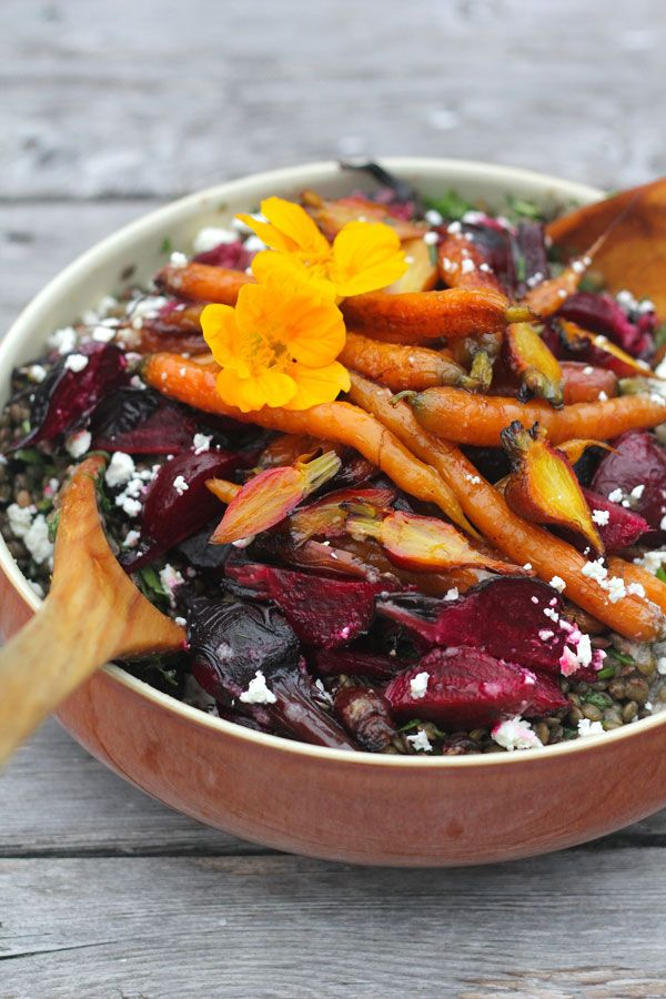 Lentils With Roasted Beets And Carrots Food Beet