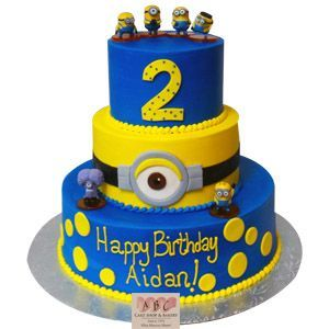 2183 3 Tier Minion Birthday Cake ABC Cake Shop Bakery Balloon