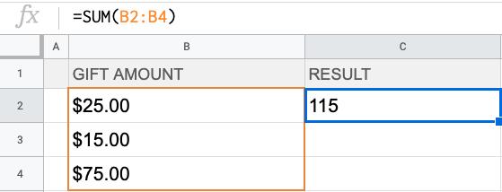 Formula: =SUM(B2:B4)