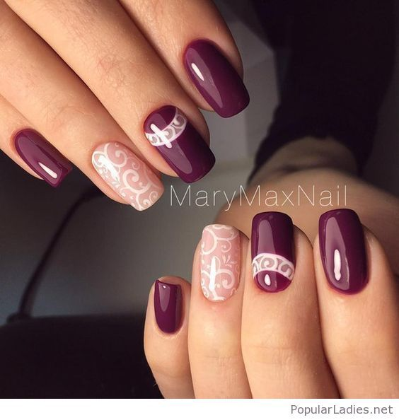 Awesome Purple Gel Nails With White Lace Print