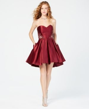 a7731c74ee0662 Blondie Nites Juniors' L'Amour Strapless Fit & Flare Dress - Red 15 ...