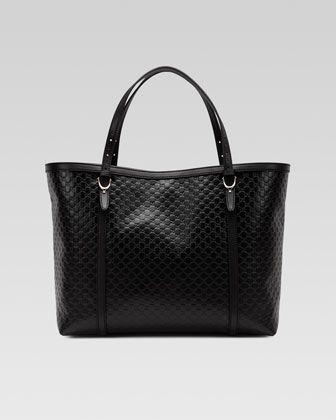 e3055eaf1 Gucci Gucci Nice Microguccissima Leather Tote, Black - Neiman Marcus