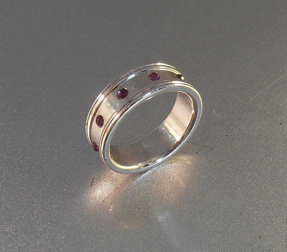 Cigar Band Wedding Ring Amethyst Crystal by LynnHislopJewels