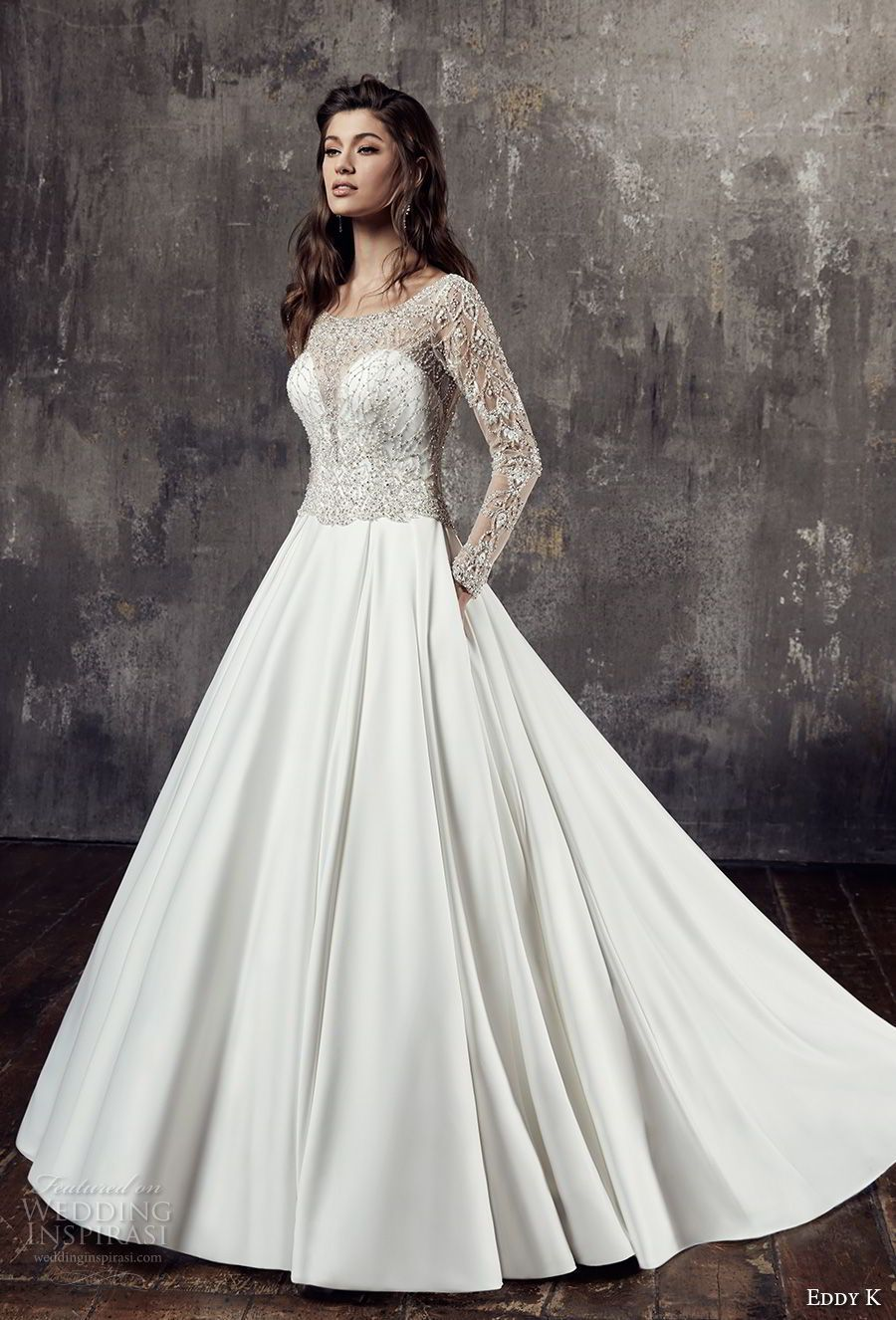 Eddy k couture wedding dresses satin skirt chapel train and