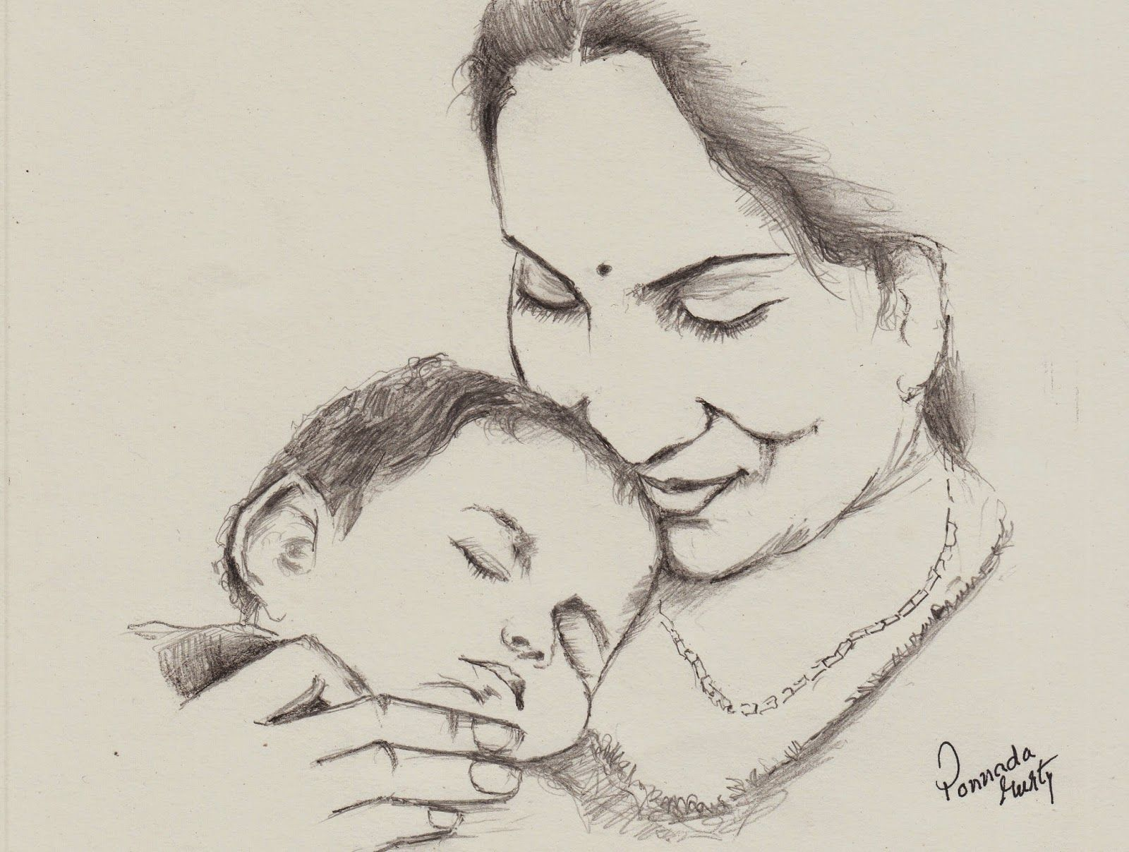 Mother Sketches In Pencil
