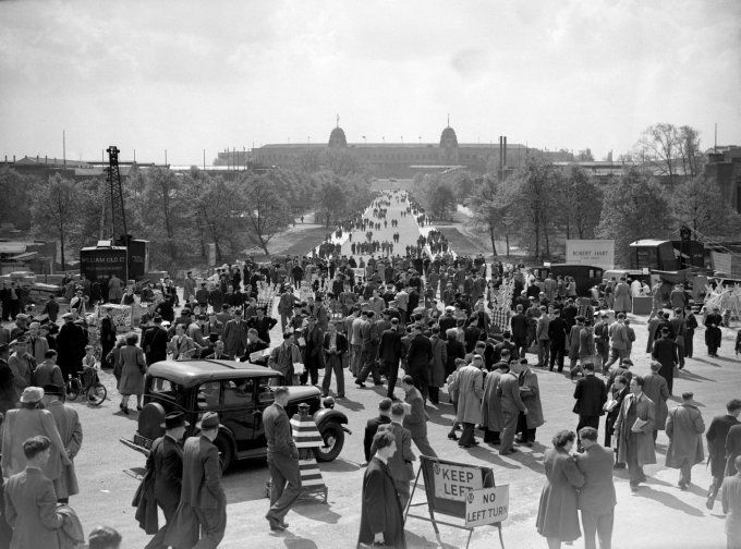 "Thousands of Blackpool and Manchester United supporters meander up the new Olympic Road (now ""Wembley Way"") on their way up to Wembley for the FA Cup Final, 1948"