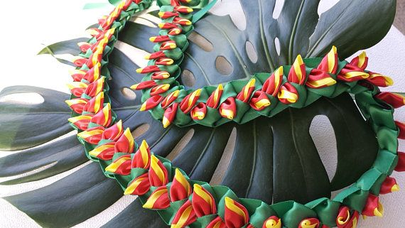 Heliconia flat ribbon lei | Ribbon Lei | Ribbon lei ...