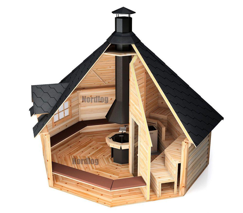 nordlog kombi grillkota mit sauna 16 5m2 saunahaus gartensauna h tte au ensauna in heimwerker. Black Bedroom Furniture Sets. Home Design Ideas